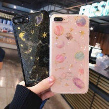Luxury Bling Glitter Stars Planet Phone Case For iPhone 7 6 S 6S 8 Plus Soft Silicone TPU Back Cover For iPhone X XR XS MAX Case цена