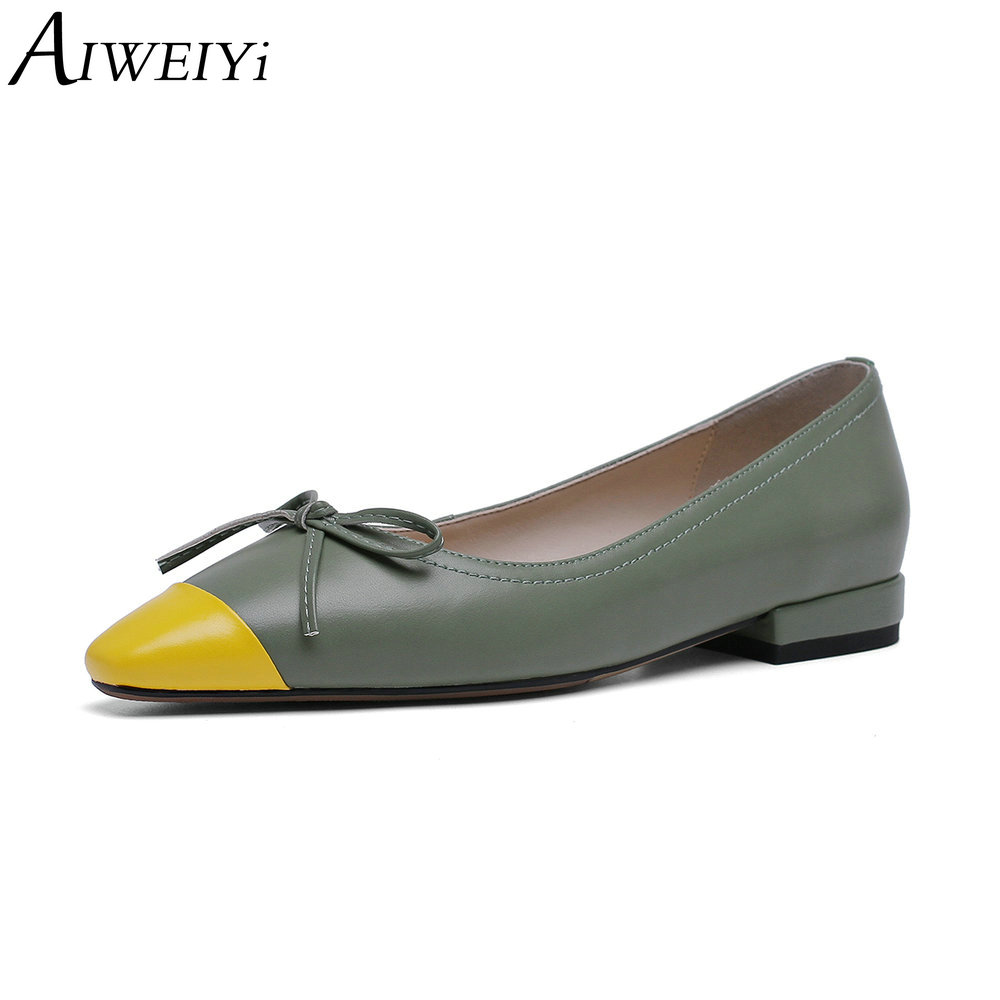 Zapatos planos de Ballet de cuero genuino hechos a mano AIWEIYi para mujer zapatos de punta cuadrada deslizamiento en primavera otoño cómodos planos de mujer-in Zapatos planos de mujer from zapatos    1