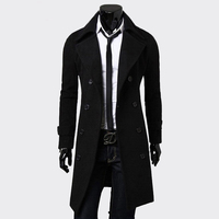 Mens Trench Coat Fashion Men Long clothes black Double breasted Windproof Slim Trench Coat Men Plus Size top blazer jacket