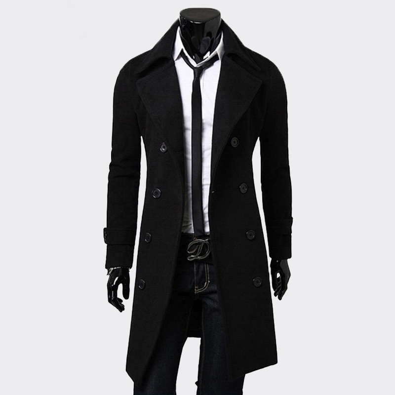 Mens Trench   Coat   Fashion Men Long clothes black Double-breasted Windproof Slim Trench   Coat   Men Plus Size top blazer jacket