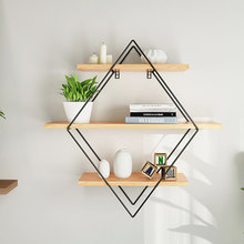 NEW 50x50x19cm Shelf Storage Iron Art Wooden Retro Wall Bookcase Cabinet Door Coat Hanger Storage Rack Organizer(China)