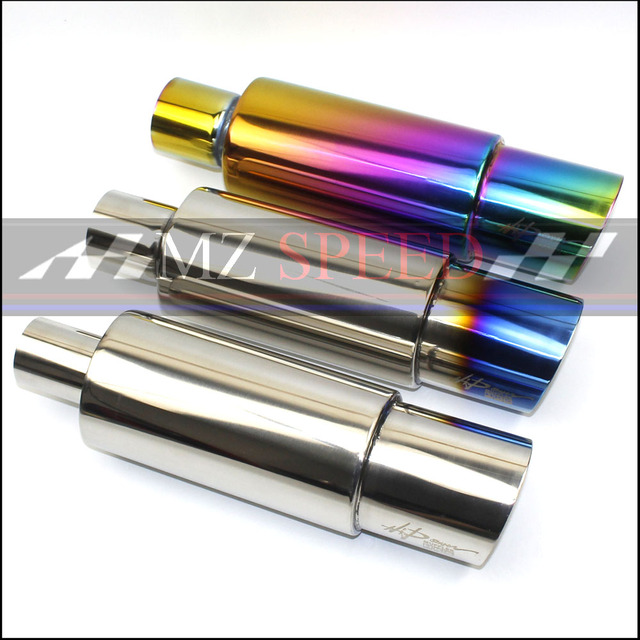 """Car Muffler Exhaust Pipe Tip Polished Stainless Steel Burnt Tip And Silencer 2/2.25/2.5""""inlet outlet Exhaust tip Muffler"""