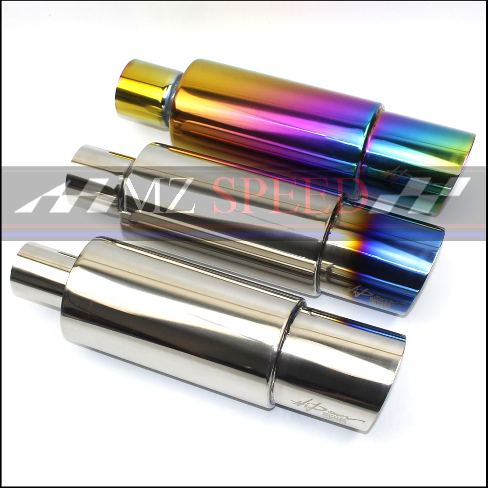 Car Muffler Exhaust Pipe Tip Polished Stainless Steel Burnt Tip And Silencer 2/2.25/2.5inlet outlet Exhaust tip Muffler