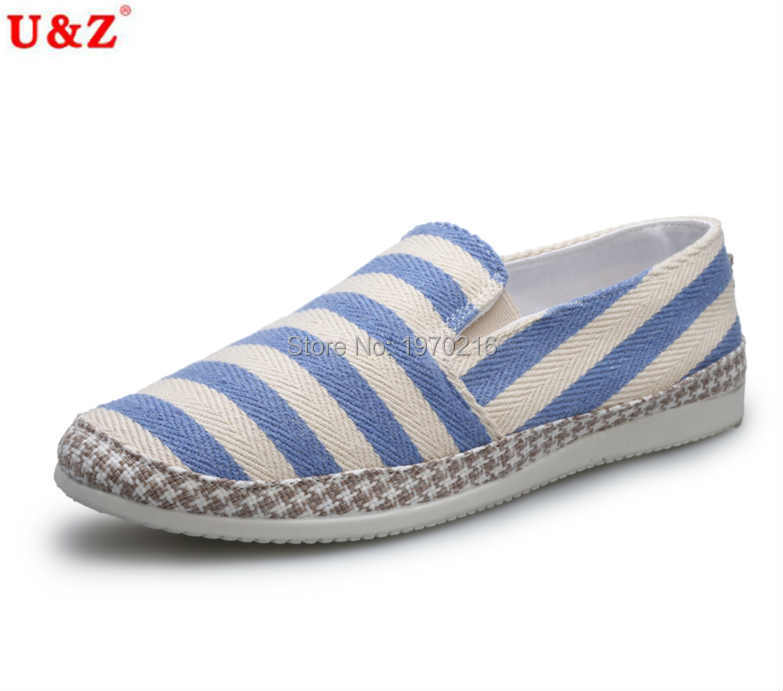 ФОТО 2016 Newest Men Fashion Korean Style Stripes Shoes Male Casual Summer Loafers Simple Design Breathable Canvas Shoes Navy/white