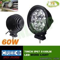 7inch 60W Led work light fog light spot/flood beam for offload truck use 12pcs*5W CREE leds IP67 5100LM led driving light