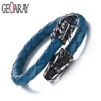Geoaray Vintage Dragon Head Bracelets & Bangles Male Jewelry Ocean Blue Genuine Leather High Quality