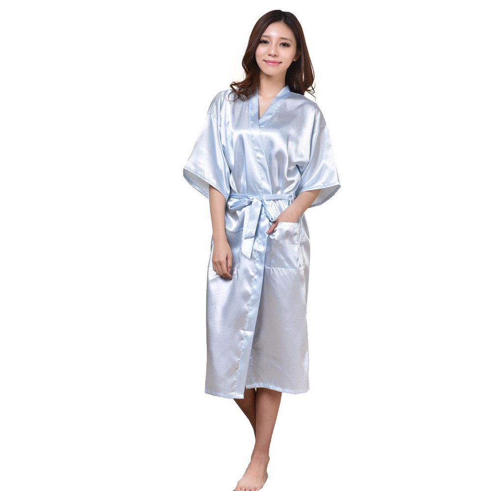 Light Blue Lady Sexy Kimono Bath Gown Nightgowns Chinese Women Silk Rayon Robe Sleepwear Pajamas Size S M L XL XXL XXXL NB023