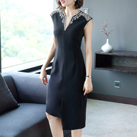 New 2019 Summer Women Long dress Solid Short Sleeve Slimading V Neck Aristocratic Elegance Dresses Yellow Black 1235
