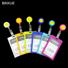 BINXUE Cover Card & ID Holders, Access control Easy to buckle Work card identification tag badge Telescopic Badge