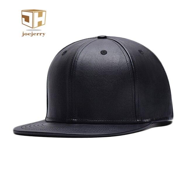 f607bc4bd5e2a Couro joejerry Plana Boné de Beisebol do Hip Hop Snapback Chapéu Preto Das  Mulheres Dos Homens
