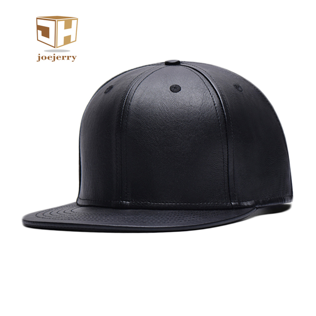 ca1abad4 joejerry Leather Flat Baseball Cap Hip Hop Snapback Black Hat Men Women  Unisex Size Adjustable