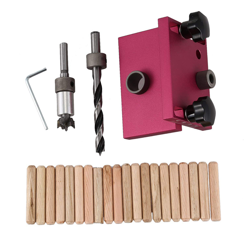 Woodworking Tool Drilling Locator Tenon Hole Punchers Positioning Dowelling Jig 3 in 1 Punch Locator Hole Opner