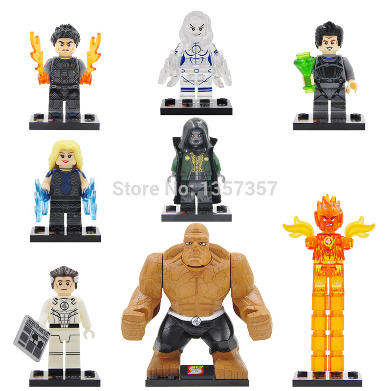 SY288 8pcs/lot Fantastic Four Super Heroes Building Blocks Sets Model Toys For Children Figure Hero 8pcs lot movie super hero 2 avenger aochuang era kid baby toy figure building blocks sets model toys compatible with lego