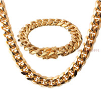 Popular Sale Jewelry for Men Boy Gold Stainless Steel Curb Link Chain Necklace Bracelet Jewelry Set 15mm24+8.66