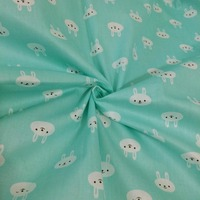 1 meter100% Cotton twill cartoon cute lovely Blue green cloth white rabbit Fabric DIY clothes handwork quilting cloth patchwork
