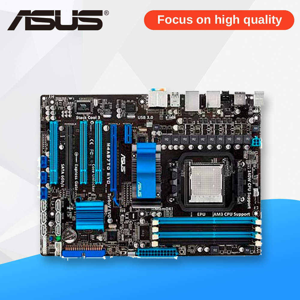 Asus M4A87TD EVO Desktop Motherboard 870 Socket AM3 DDR3 SATA3 USB2.0 ATX asus m4a88td v evo original used desktop motherboard 880g socket am3 ddr3 sata3 usb2 0 atx