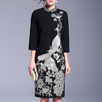 Peacock Embroidery Slim Women Dress Vintage Embroidered Bird Pattern Spring And Autumn Party Dress Mom Mother