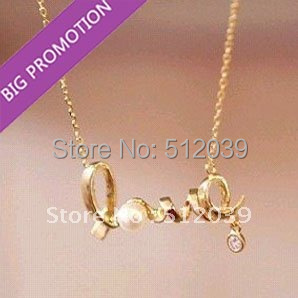 Merry Christmas! Promotion Fashion Hot Selling Cheap Chic Gold Silver Cute Word Love Chain Necklace With Pearl Crystal Jewelry