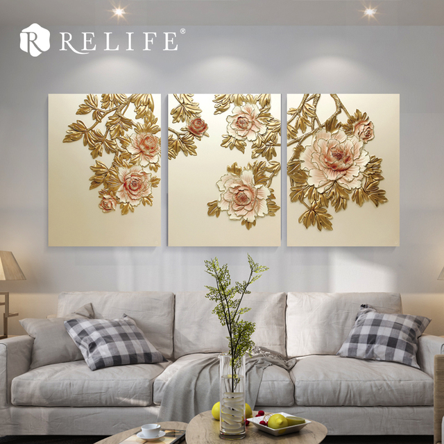 Promotional Handmade Resin Gloden Peony 3D Wall Paintings For Living Room Home Decor