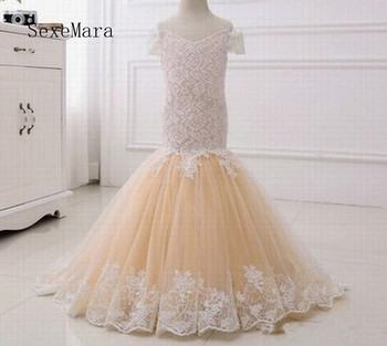 Real Pictures Mermaid Flower Girl Dress with Lace Appliques Lace Up Back Short Sleeves New Long Kids Pageant Gowns Custom Made