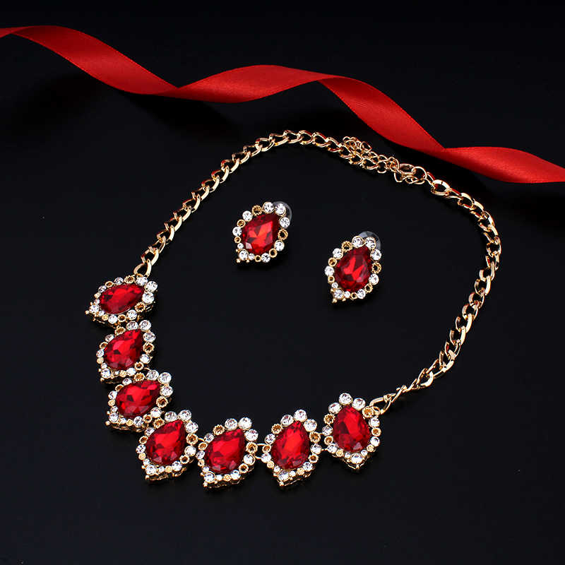 Jiayijiaduo Wedding Dress Jewelry Set For Glamour Women Crystal Necklace Earrings Gold Color