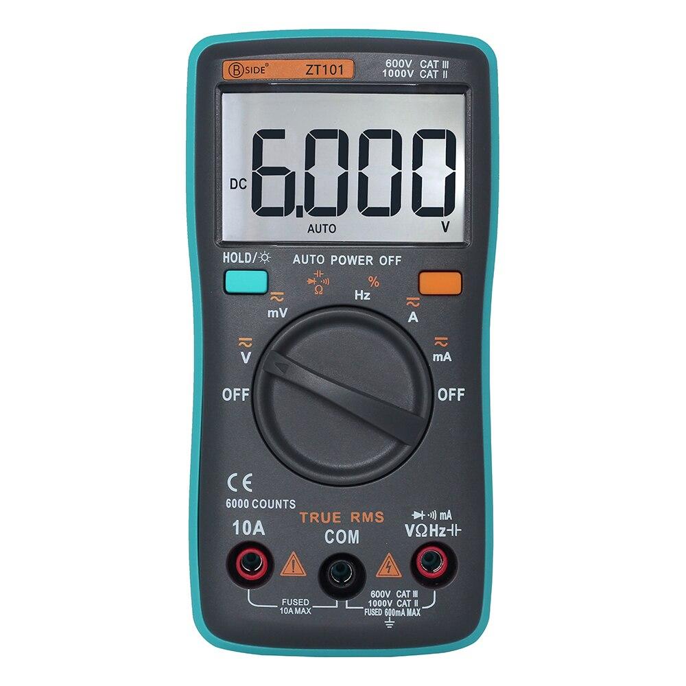 ZT98 ZT100 ZT101 ZT102 Auto Digital Multimeter AC/DC Current Voltage Ohm Tester 6000 Counts Backlight LCD Display Meter