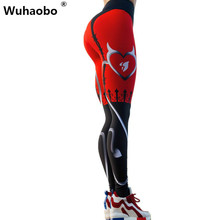 Wuhaobo Women Push Up trousers Gothic Printing Elastic Pants Sexy Red Print Workout Fitness Women Pants
