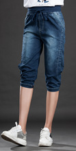 Women jeans elasticity jeans woman large size 5XL Capri boyfriend Jeans for women Lace Up feminino vintage blue Pencil Pants XL