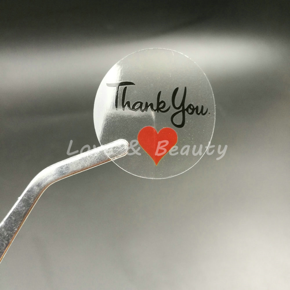100pcs 3030mm 1 18 round transparent thank you sealing sticker red heart