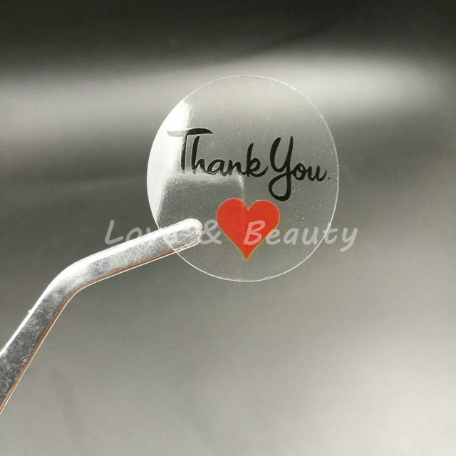 "100pcs 30*30mm 1.18"" Round Transparent Thank you Sealing Sticker Red Heart"