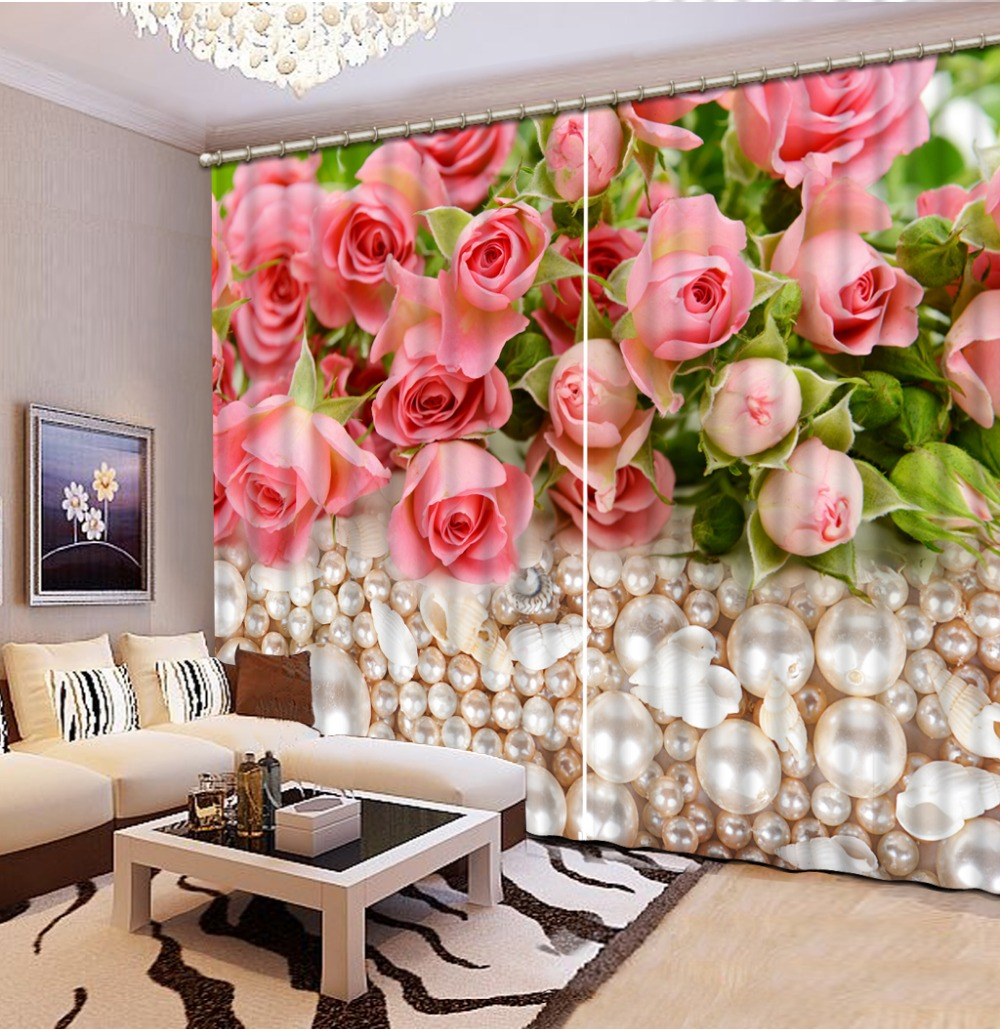 custom 3d cortinas Rose pearls 3d curtains for children bedroom 3d blackout curtain tende camera da letto modern curtain