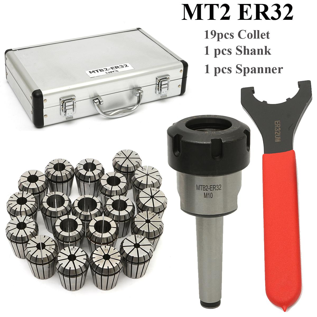 19Pcs ER32 Spring Collet Set with 1pc MT2 ER32 M10 Collet Chuck Taper Holder for CNC Engraving Machine and Milling Lathe Tool new 19pcs er32 spring collet set with mt2 er32 m10 collet chuck taper holder for cnc engraving machine and milling lathe tool