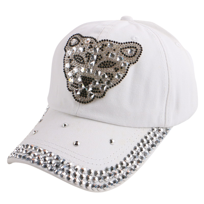wholesale women girl hip hop leopard head animal design black baseball cap colorful rhinestone snapback hat outdoor casquette