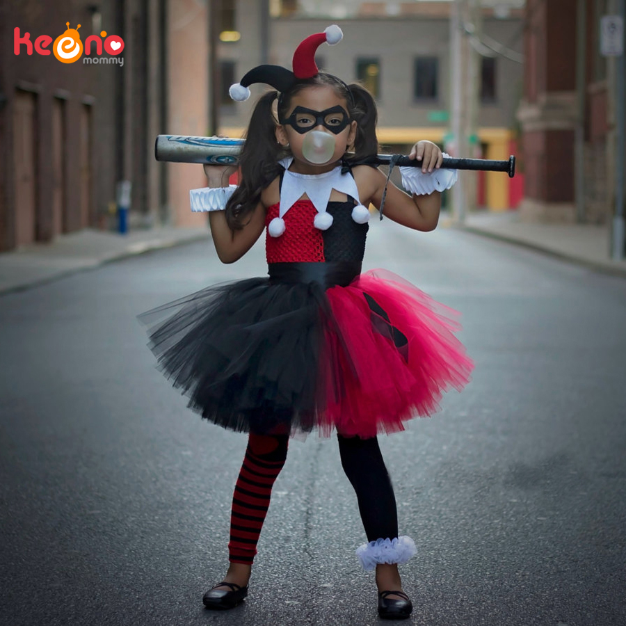 Superhero Inspired Harley Quinn Girls Tutu Dress Red Black Baby Birthday Party Halloween Purim Costume Holiday Vestidos