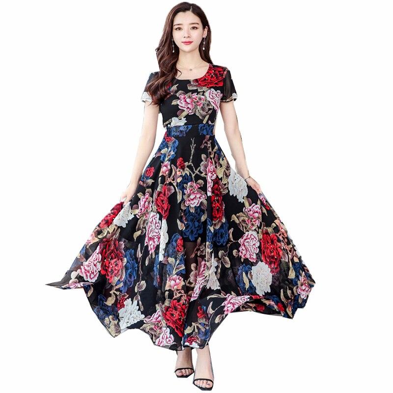Femmes printemps robe soie Noble femmes Maxi Boho robe à manches courtes impression en mousseline de soie dames robes Floral robes robes 2019