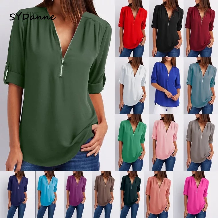 SYDanne Women Spring Summer Chiffon Blouse Top 2018 V Collar Zipper Roll Up Long Sleeves Loose Shirt Blusa Feminina Plus Size5XL(China)