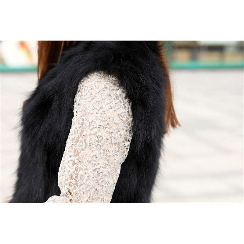 100 V Femmes Fourrure longue Black Chien Laveur Hiver Naturel Sans X De Gilets 2018 Cou Automne Raton Réel Manches Veste Mode Cm Femme 75dqw44gv