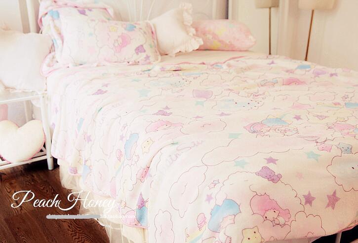 candice guo! cute plush toy cartoon little twin star sweet in the cloud pillowcase blanket girls creative birthday gift 1pc все цены