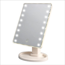 LED Touch Screen Makeup Mirror Professional With 16 LED Lights Health Beauty Adjustable Countertop 180 Rotating Mirror