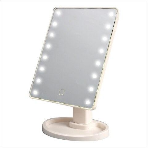 Tela sens vel ao toque led espelho de maquiagem profissional com 16 luzes led beleza