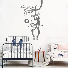 Cartoon Monkey Tree Safari Wall Decal Bedroom Baby Nursery Large Animal Pet Jungle Forest Sticker Play room Vinyl