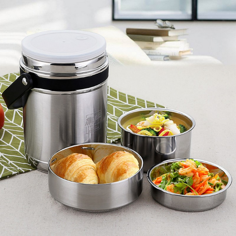 2018 new 1.8L or 2.6L Lunch Pail Food Container 304 Stainless Steel Lunch Box Vacuum Insulated Thermo Soup Bento Lunch Box