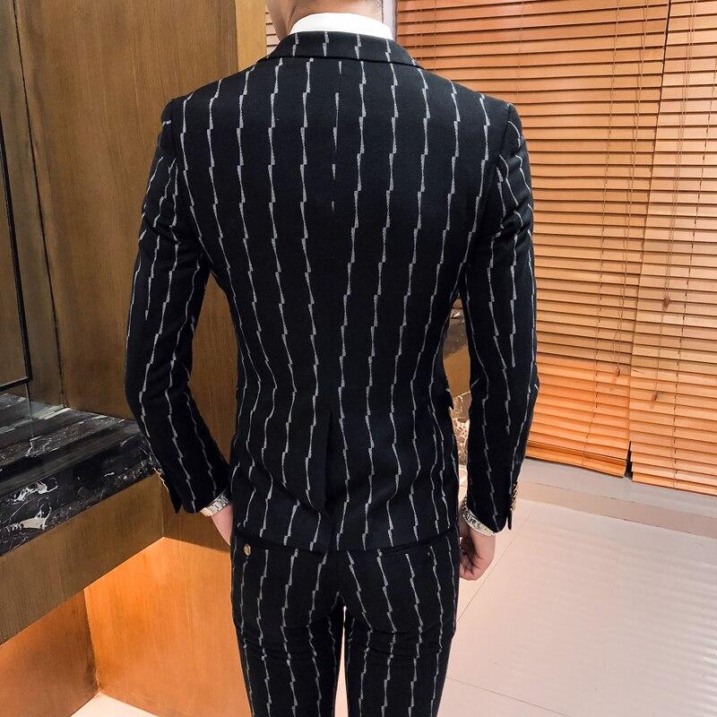 3 предмета, мужской костюм в клетку, приталенный, джентльмен, свадебные костюмы для мужчин, деловой костюм, смокинг, серый, винный, красный, зе... - 4
