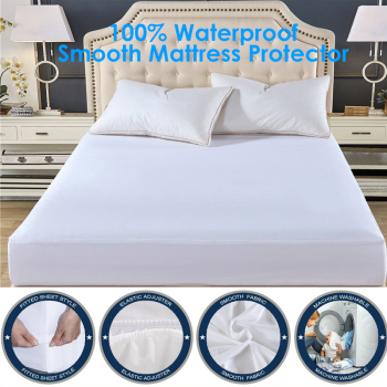 Smooth Waterproof Mattress Protector Cover For Bed Wetting