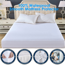 Smooth Waterproof Mattress Protector Cover For Bed WettingHypoallergenic Protection Pad Anti Mites Topper