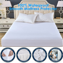 Smooth Waterproof Mattress Protector Cover For Bed WettingHypoallergenic Protection Pad Anti Mites Bed Cover For Mattress Topper(China)