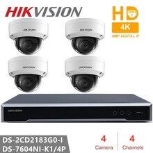 Hikvision набор IP камер 4CH 4POE NVR + 4 шт DS-2CD2183G0-I 8MP Сеть мини купольная безопасности камера cctv с Интернетом SD карты 30 м ИК H.265 +