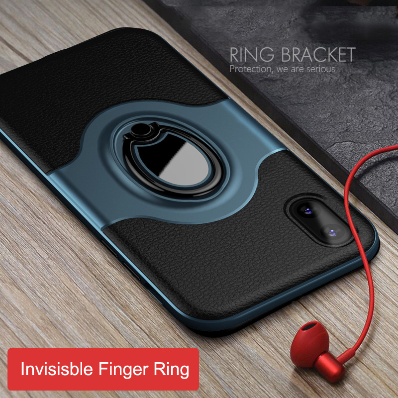Armor Cases for iPhone 6 6S 7 8 Plus X 10 Case Invisible Finger Ring Bracket Anti-knock PU Leather Cover for iPhone 6plus 8plus
