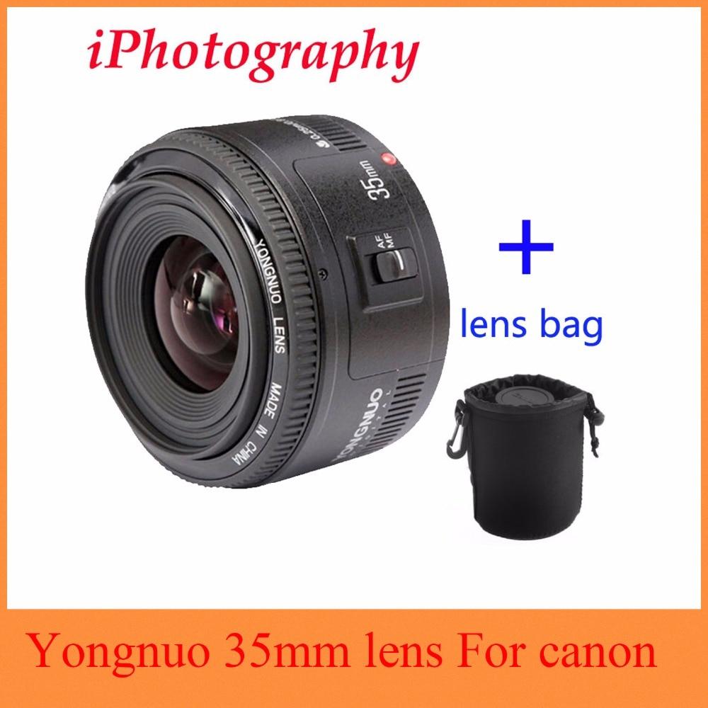 Yongnuo 35mm lente YN35mm F2 para Canon gran angular gran apertura fija lente de enfoque automático EF montaje EOS cámara puede ser elige bolsa