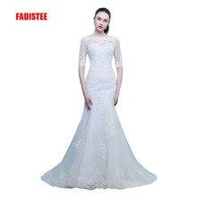 Elegant Vestido de Festa wedding dress with sweep train and satin half sleeves